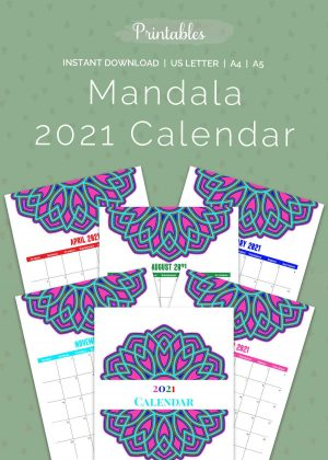 Printab;es - Mandala Monthly Calendar 2021 Color