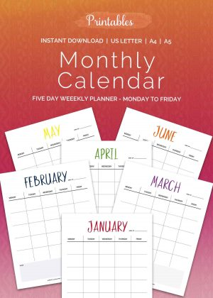 Five Day Weekly Planner Printable